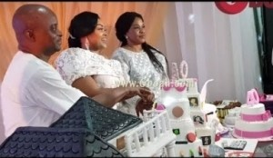 Video: Mercy Aigbe Cuts Her Gigantic Cake With Her Loved Ones & Friends At Her 40Th Birthday Party In Lagos